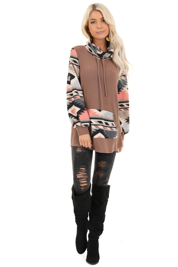Mocha Aztec Print Cowl Neck Sweater Top with Kangaroo Pouch front full body