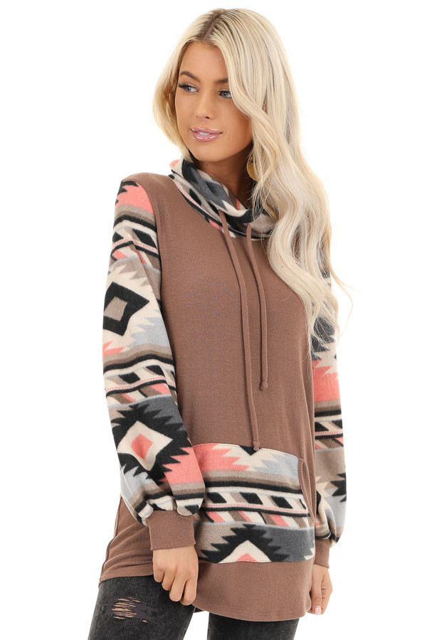 Mocha Aztec Print Cowl Neck Sweater Top with Kangaroo Pouch front close up