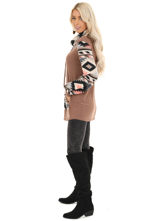 Mocha Aztec Print Cowl Neck Sweater Top with Kangaroo Pouch side full body