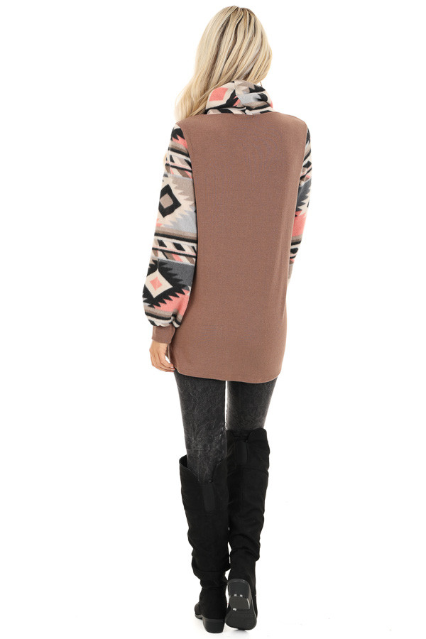 Mocha Aztec Print Cowl Neck Sweater Top with Kangaroo Pouch back full body