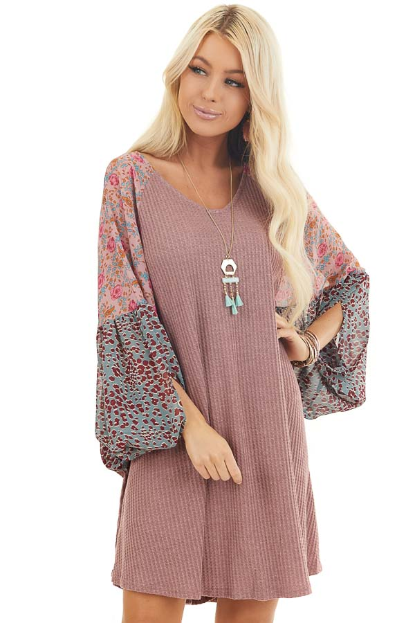 Mauve Mini Dress with Floral Print Contrast Sleeves front close up