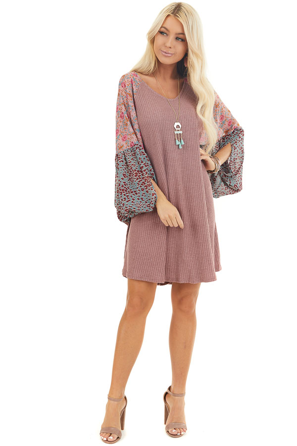 Mauve Mini Dress with Floral Print Contrast Sleeves front full body