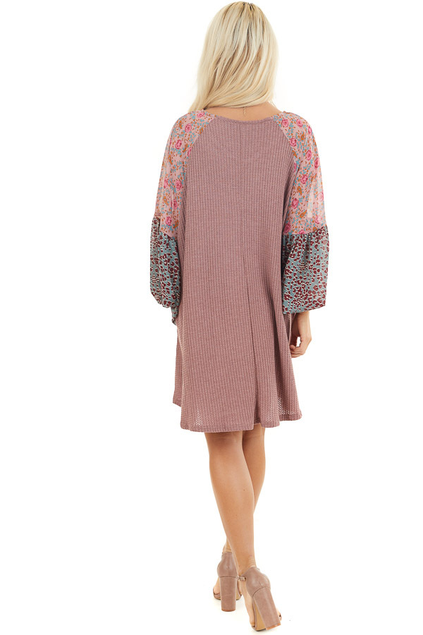 Mauve Mini Dress with Floral Print Contrast Sleeves back full body