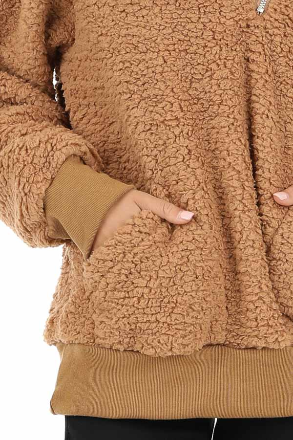Cocoa Faux Fur Pullover Jacket with Pockets detail