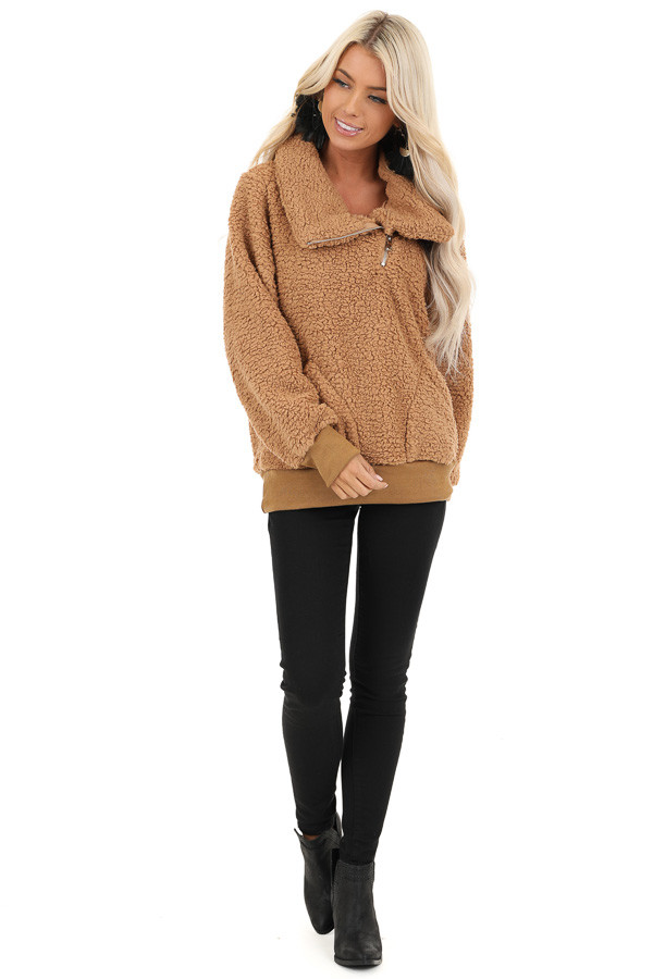 Cocoa Faux Fur Pullover Jacket with Pockets front full body