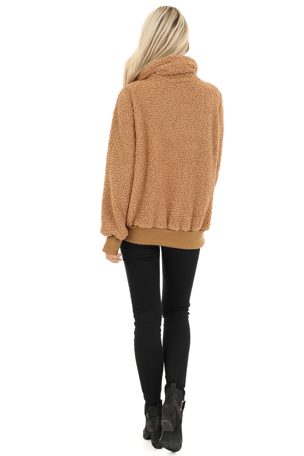 Cocoa Faux Fur Pullover Jacket with Pockets back full body