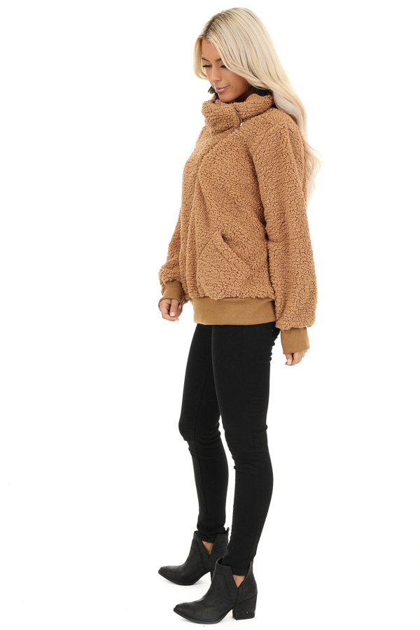Cocoa Faux Fur Pullover Jacket with Pockets side full body