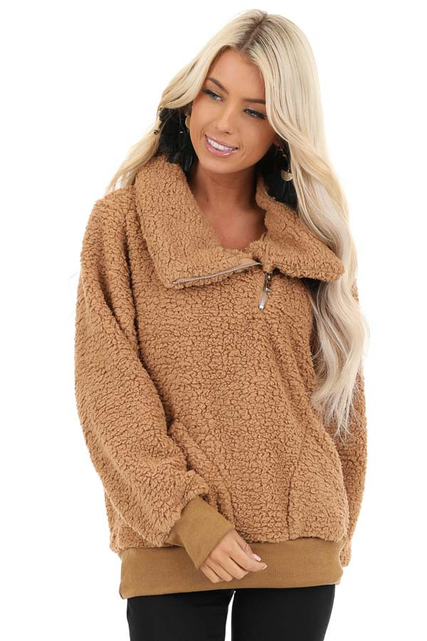 Cocoa Faux Fur Pullover Jacket with Pockets front close up