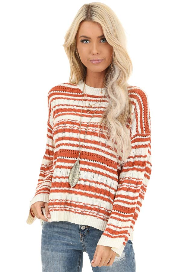Rust and Ivory Striped Lightweight Cable Knit Sweater Top front close up