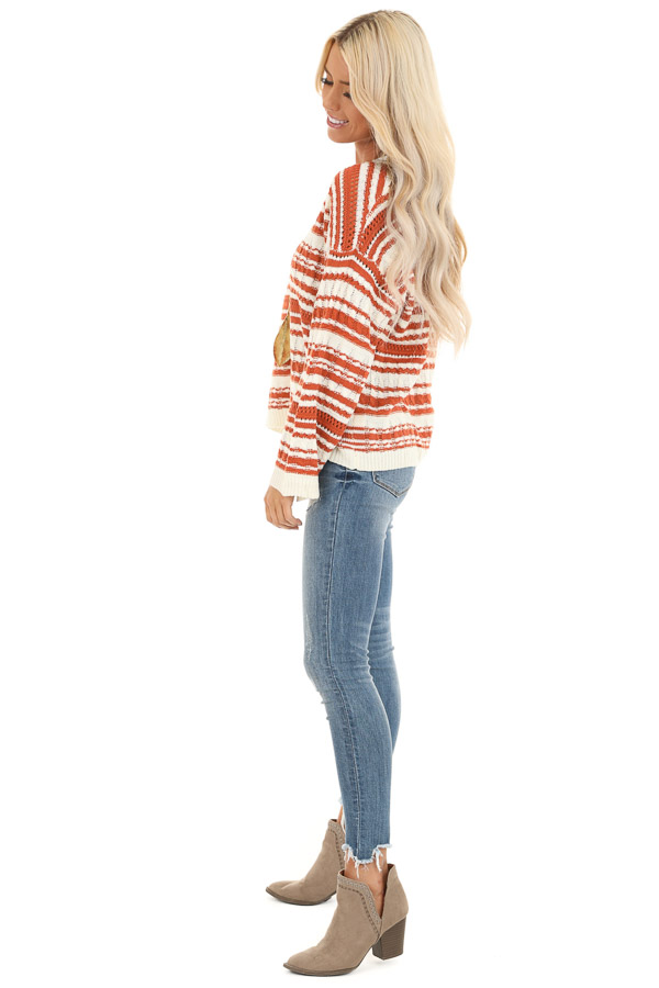 Rust and Ivory Striped Lightweight Cable Knit Sweater Top side full body