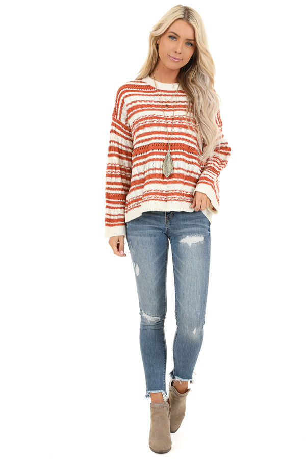 Rust and Ivory Striped Lightweight Cable Knit Sweater Top front full body