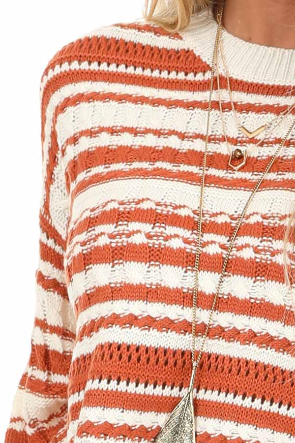 Rust and Ivory Striped Lightweight Cable Knit Sweater Top detail
