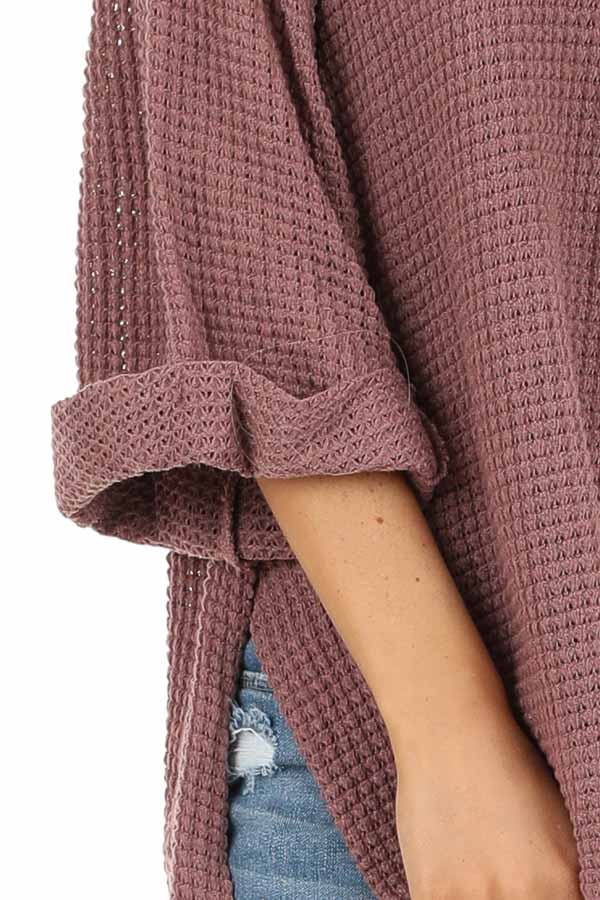 Mauve Waffle Knit 3/4 Sleeve Top with Rounded Neckline detail