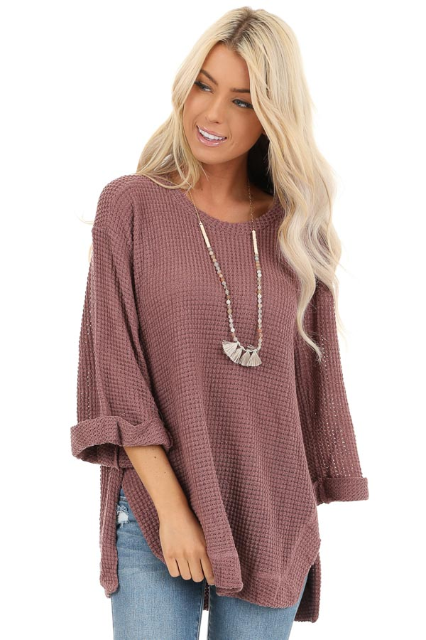 Mauve Waffle Knit 3/4 Sleeve Top with Rounded Neckline front close up