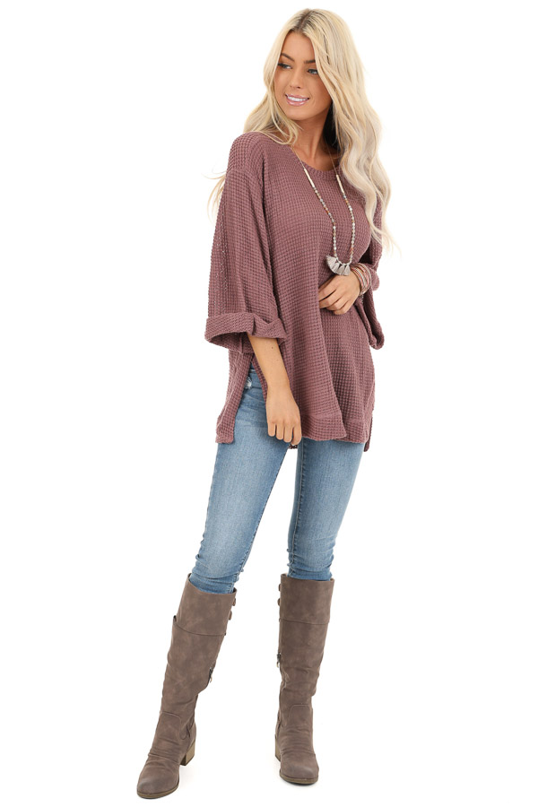 Mauve Waffle Knit 3/4 Sleeve Top with Rounded Neckline front full body