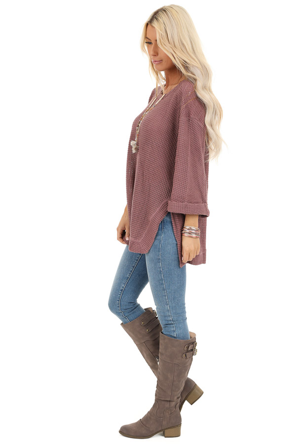 Mauve Waffle Knit 3/4 Sleeve Top with Rounded Neckline side full body