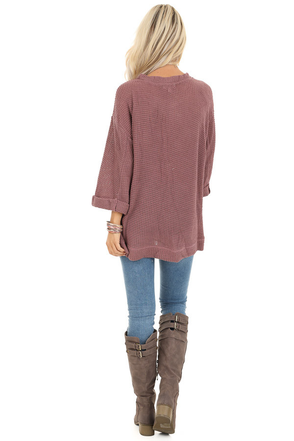 Mauve Waffle Knit 3/4 Sleeve Top with Rounded Neckline back full body