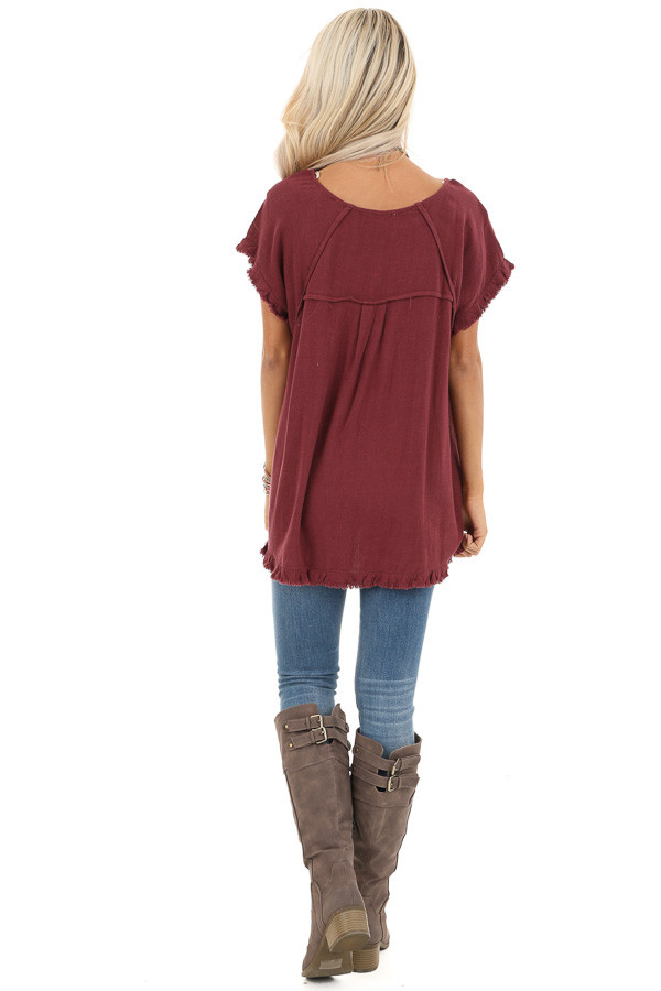 Maroon Loose Fit Top with Short Sleeves and Distressed Edges back full body