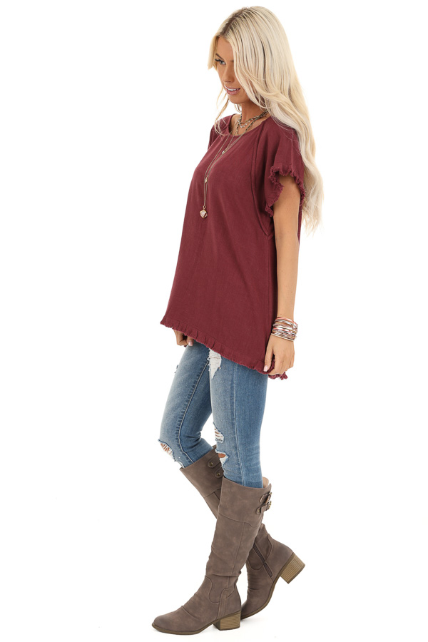 Maroon Loose Fit Top with Short Sleeves and Distressed Edges side full body