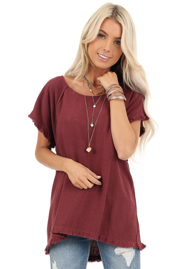 Maroon Loose Fit Top with Short Sleeves and Distressed Edges front close up