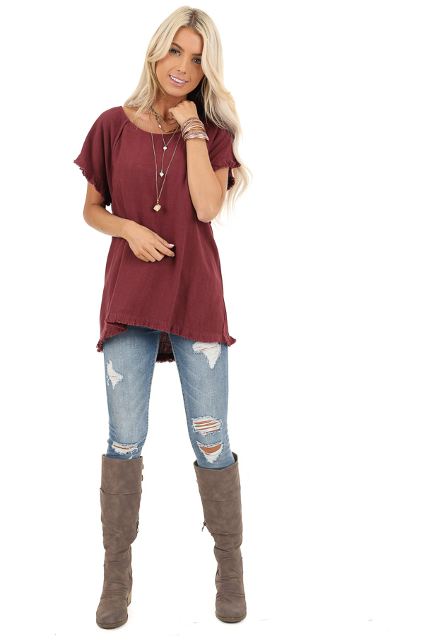 Maroon Loose Fit Top with Short Sleeves and Distressed Edges front full body