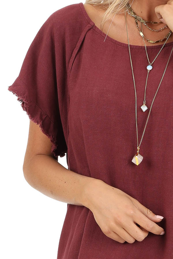 Maroon Loose Fit Top with Short Sleeves and Distressed Edges detail