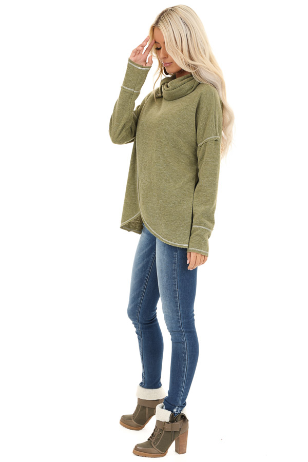 Olive Long Sleeve Top with Cowl Neck and Wrap Detail side full body