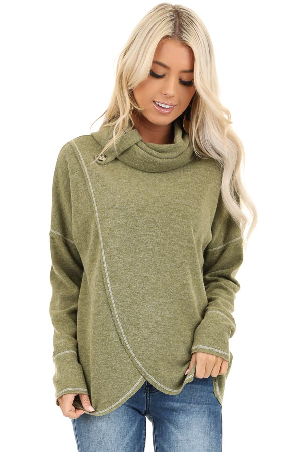 Olive Long Sleeve Top with Cowl Neck and Wrap Detail front close up