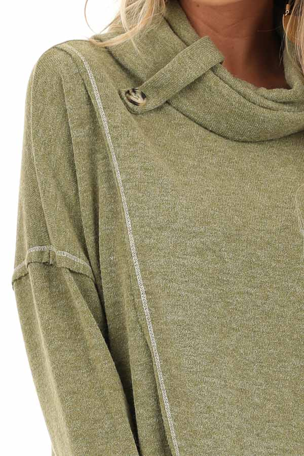 Olive Long Sleeve Top with Cowl Neck and Wrap Detail detail