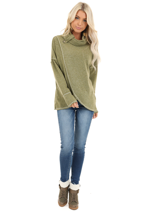 Olive Long Sleeve Top with Cowl Neck and Wrap Detail front full body