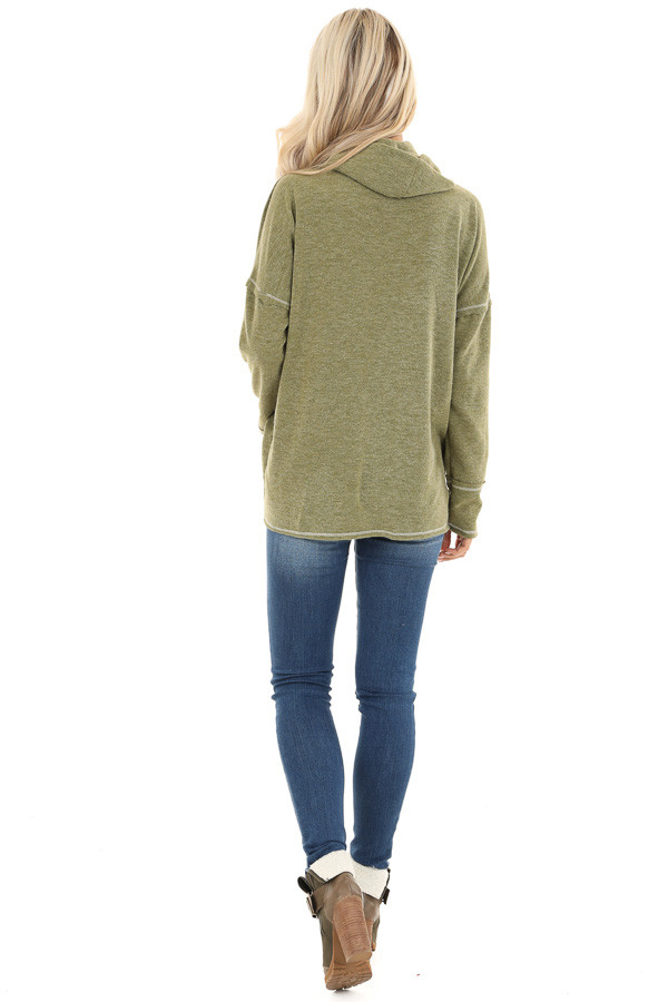 Olive Long Sleeve Top with Cowl Neck and Wrap Detail back full body