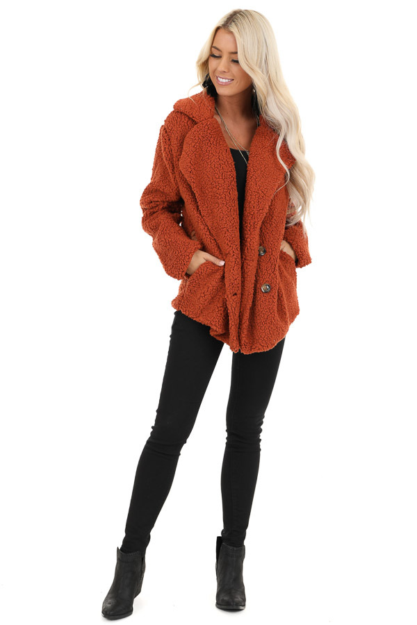 Rust Fluffy Button Up Collared Jacket with Pockets front full body
