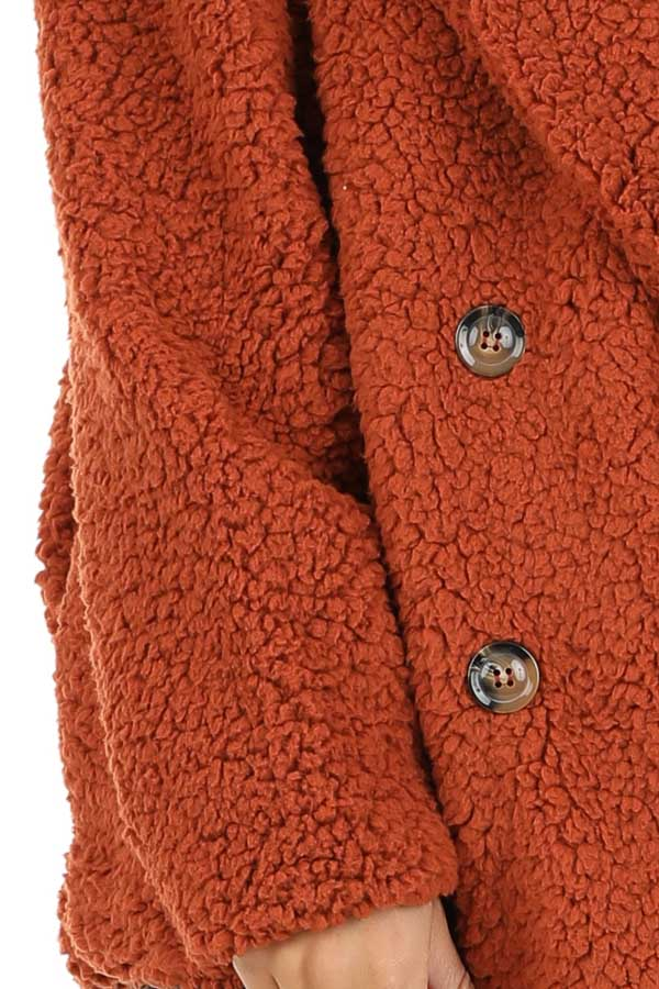 Rust Fluffy Button Up Collared Jacket with Pockets detail