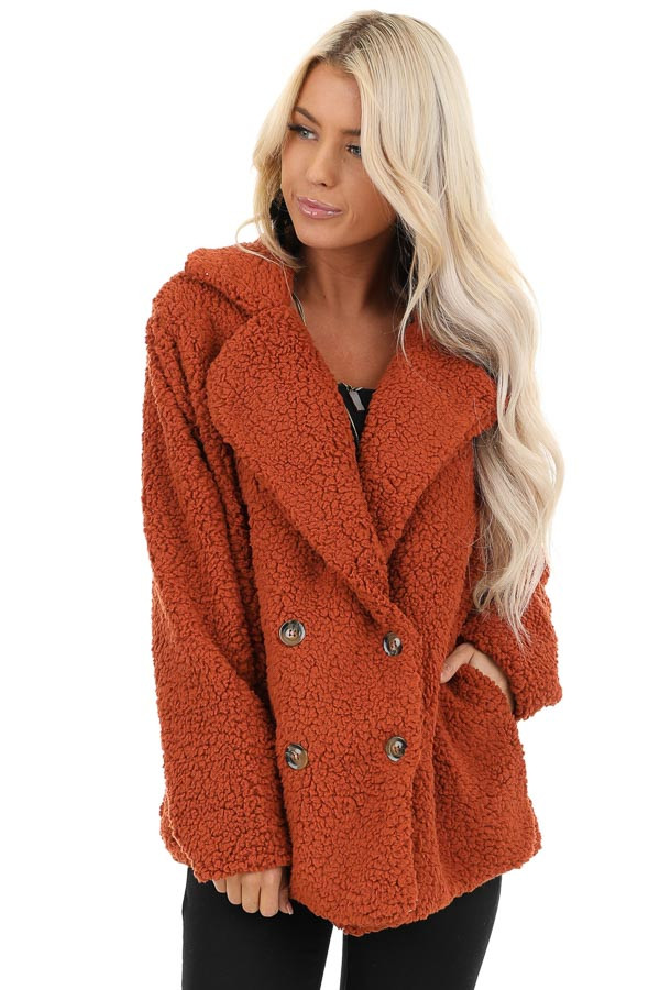 Rust Fluffy Button Up Collared Jacket with Pockets front close up