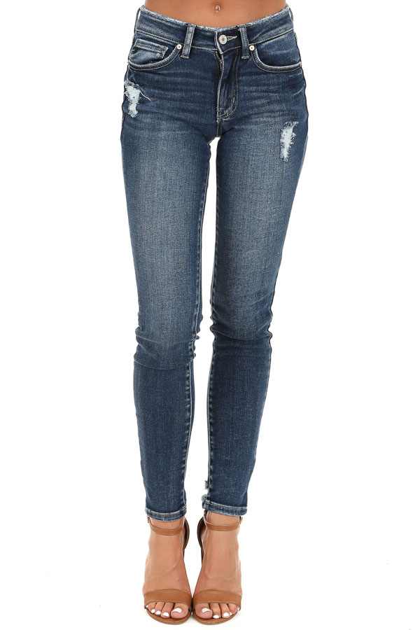Dark Wash Distressed Mid Rise Skinny Jeans front view