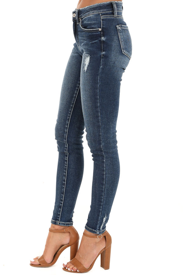 Dark Wash Distressed Mid Rise Skinny Jeans side view