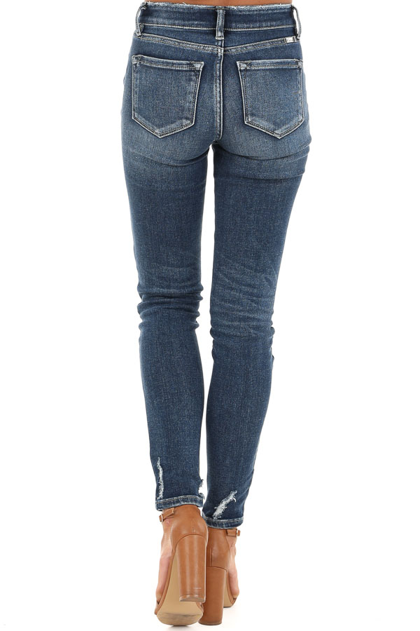 Dark Wash Distressed Mid Rise Skinny Jeans back view