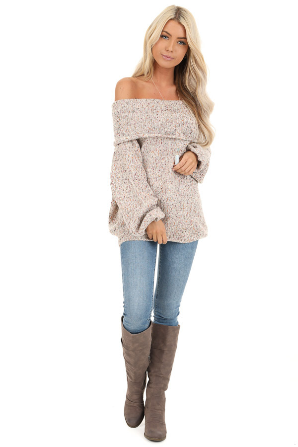 Oatmeal Multicolor Speckled Cowl Neck Off Shoulder Sweater front full body