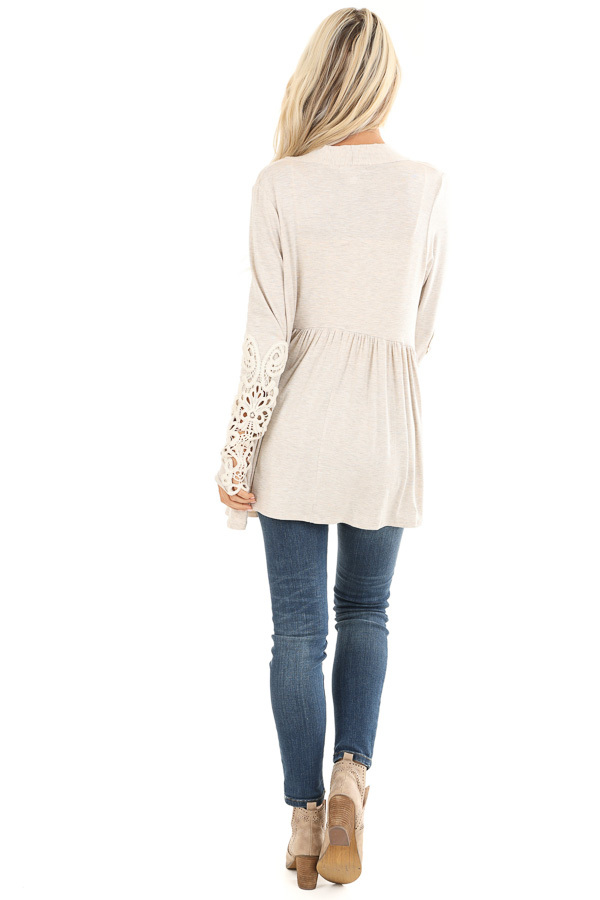 Oatmeal Long Sleeve Cardigan with Sheer Lace Details back full body