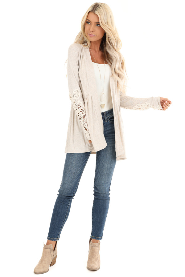 Oatmeal Long Sleeve Cardigan with Sheer Lace Details front full body