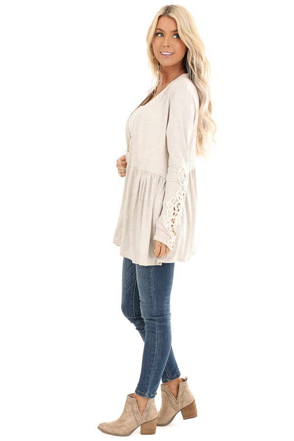 Oatmeal Long Sleeve Cardigan with Sheer Lace Details side full body