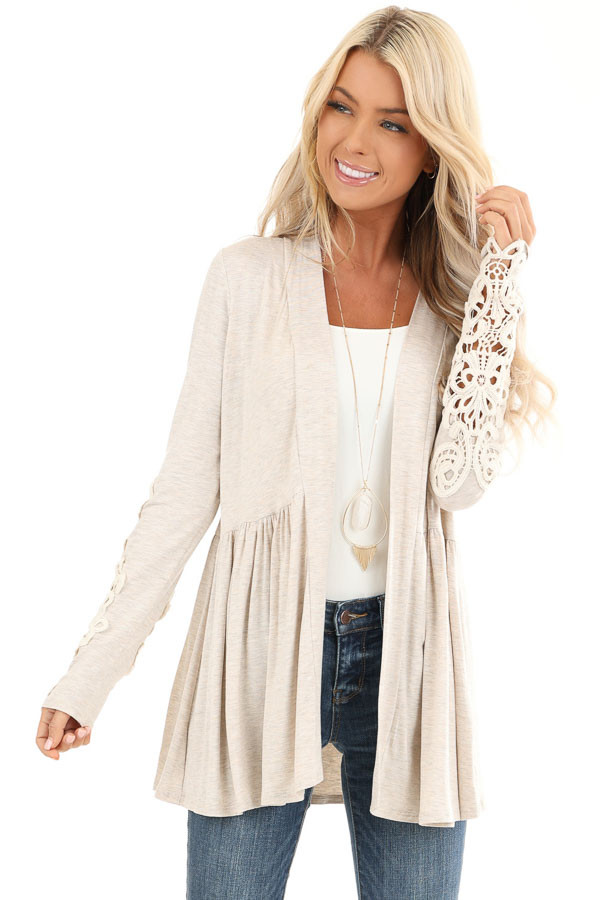 Oatmeal Long Sleeve Cardigan with Sheer Lace Details front close up