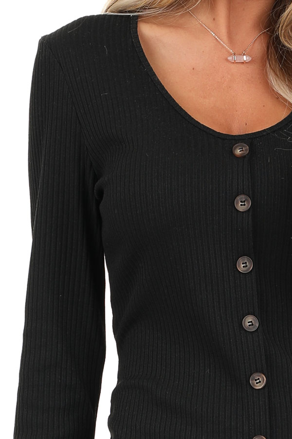 Black Ribbed Knit Long Sleeve Dress with Mocha Buttons detail