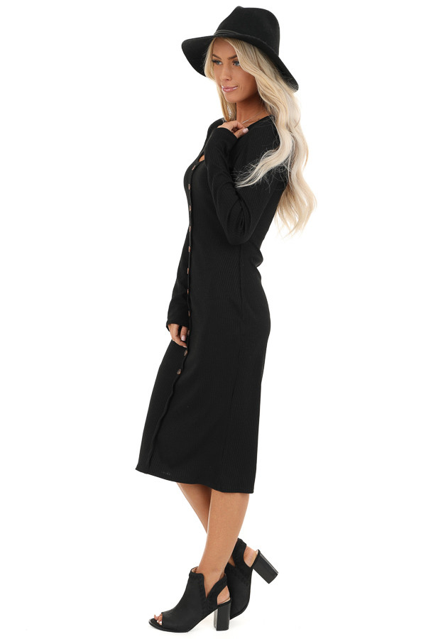 Black Ribbed Knit Long Sleeve Dress with Mocha Buttons side full body