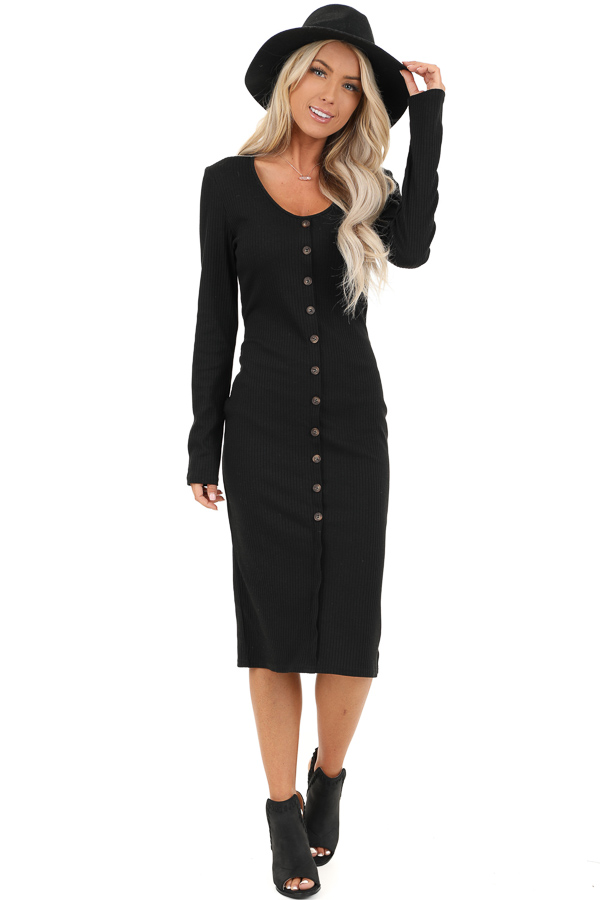 Black Ribbed Knit Long Sleeve Dress with Mocha Buttons front full body