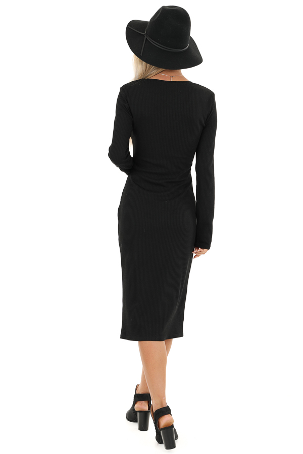 Black Ribbed Knit Long Sleeve Dress with Mocha Buttons back full body