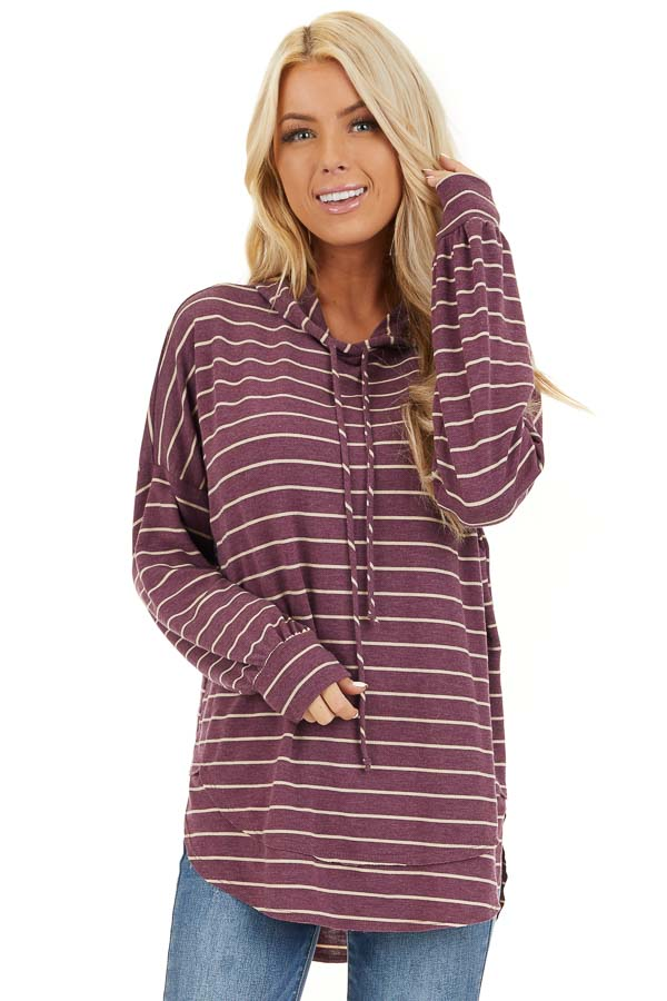 Plum Striped Long Sleeve Knit Lightweight Hoodie front close up