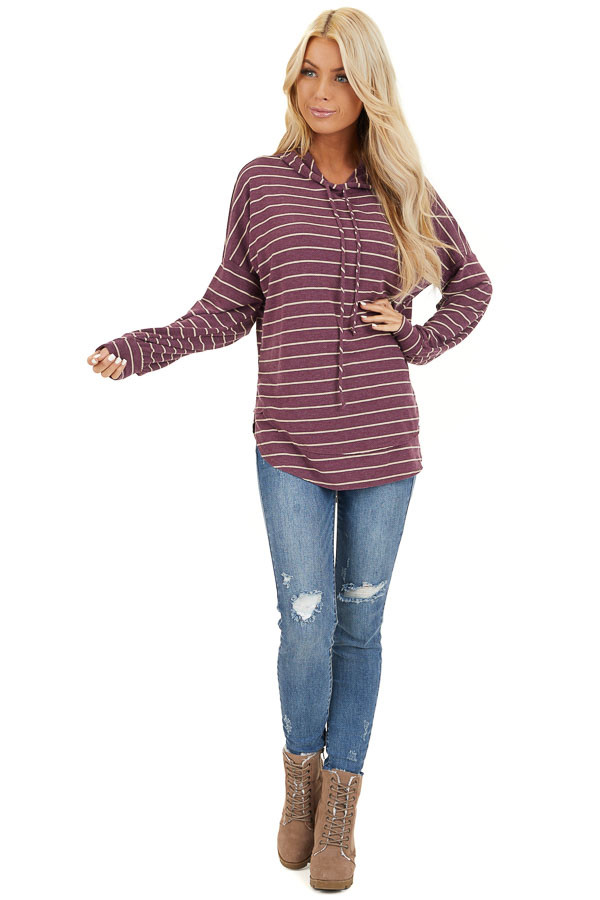 Plum Striped Long Sleeve Knit Lightweight Hoodie front full body