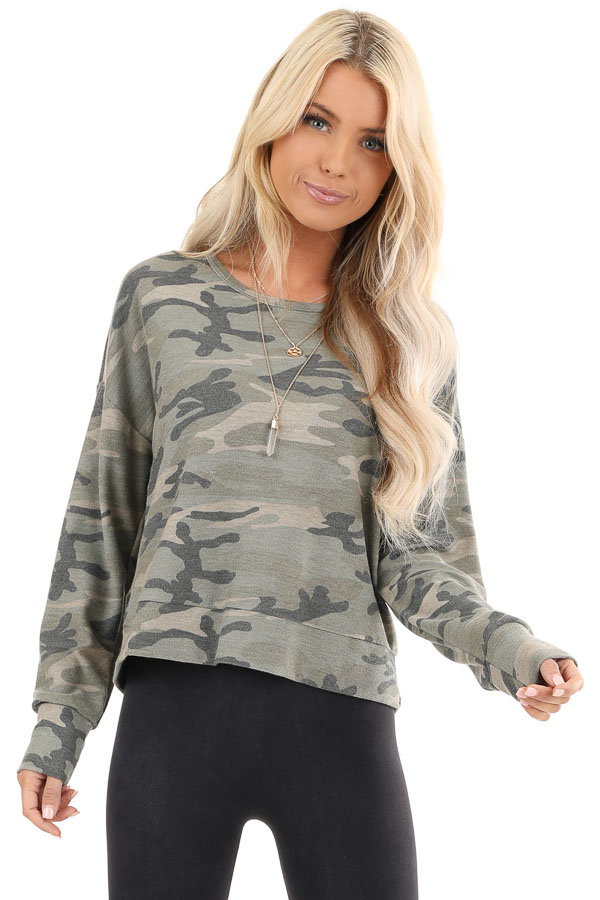Olive Camo Print Long Sleeve Top with Back Cutout Detail front close up