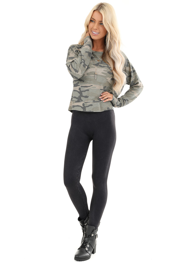 Olive Camo Print Long Sleeve Top with Back Cutout Detail front full body